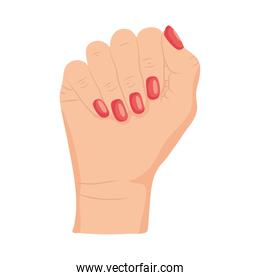 hand showing the red nails, colorful design
