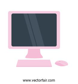 pink computer monitor, keyboard and mouse, colorful design