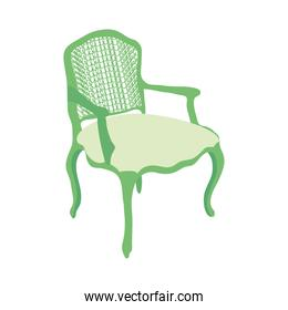 classic green chair icon, colorful design