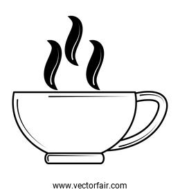 restaurant coffee cup hot beverage in line style