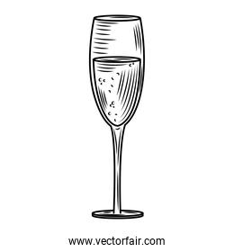 wine day, glass cup party celebration hand drawn design