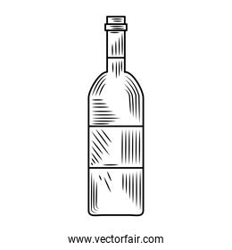 wine day, bottle liquor beverage icon hand drawn design