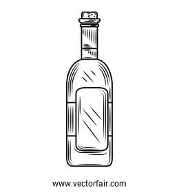 wine day, bottle alcohol drink celebration hand drawn design