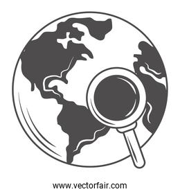 world globe with magnifying glass map search icon