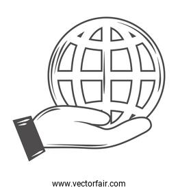 globe map world in hand thin line style icon icon