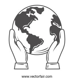 hands with world globe map save planet concept icon