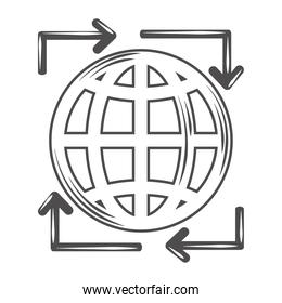 globe map world topography arrows border icon
