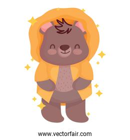cute little teddy bear with winter jacket cartoon