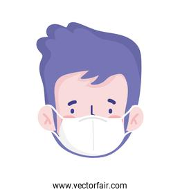 man cartoon with mask vector design