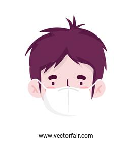 man cartoon with mask isolated vector design