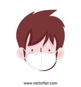 man cartoon with mask and brown hair vector design
