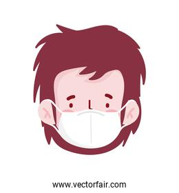 man cartoon with mask and red hair vector design