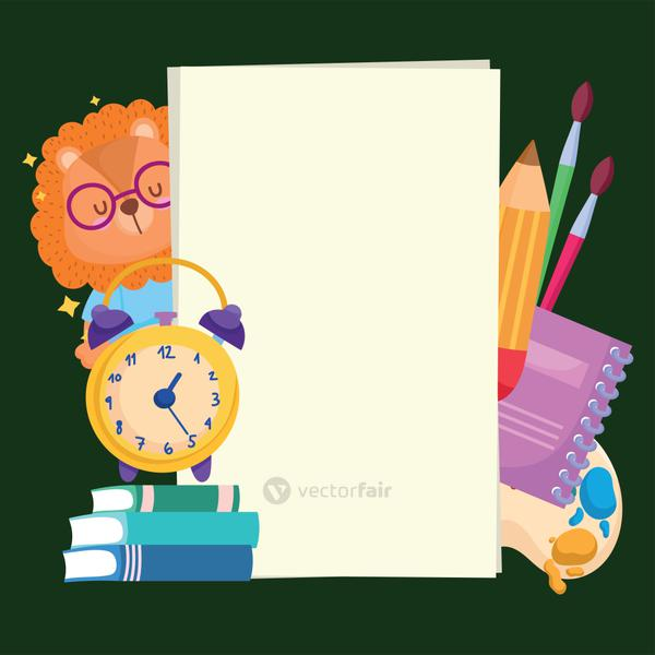 Back to school lion cartoon clock books and icons vector design