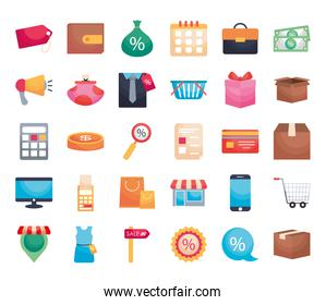 icon set of shopping, colorful design