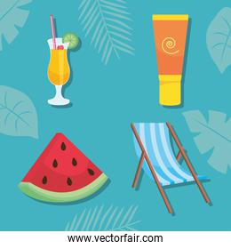 watermelon and summer icon set, vector illustration