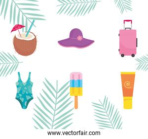 purple beach hat and summer related icons, colorful design