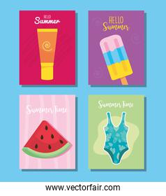 hello summer designs with related icons, colorful design