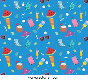 summer vacations seamless pattern, colorful design