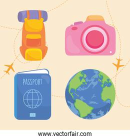 pink camera and travel icon set, colorful design