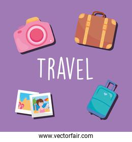 travel design with vacation photos and related icons, colorful design