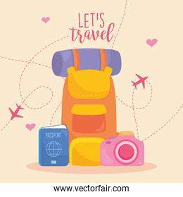 lets travel design with travel backpack, passport and camera, colorful design