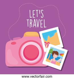 lets travel design with pink camera and vacation photos, colorful design