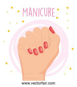 manicure design with hand showing the red nails, colorful design