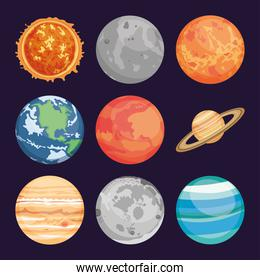 space planets collection, colorful design