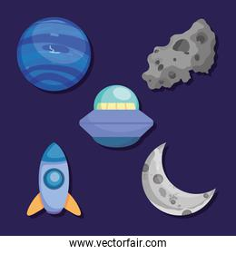 flying saucer and space elements collection, colorful design