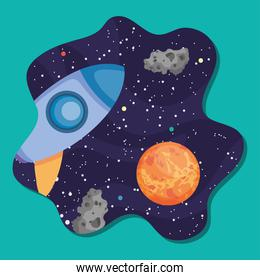 space design with rocket, planet and asteroid belts, colorful design