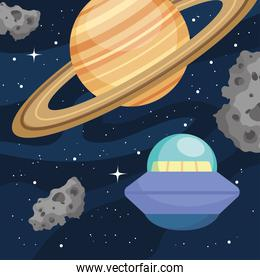 space design with saturn, flying saucer and asteroid belts, colorful design