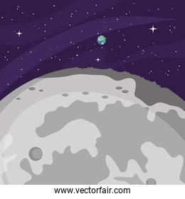 space design with the moon and earth planet, colorful design