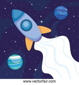 space rocket and planets around over space background