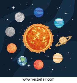 the sun and space planets around over space background