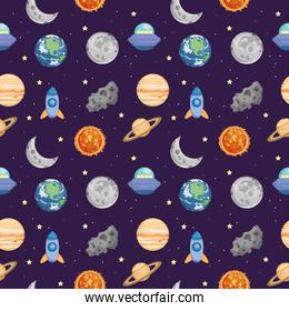 space seamless pattern, colorful design