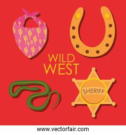 snake and wild west icon set over red background, colorful design