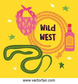 wild west design with cowboy scarf and relared icons, colorful design