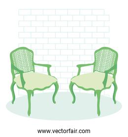 green classic chairs design, colorful design