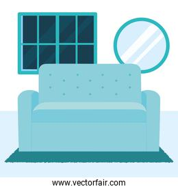 blue sofa, round mirror and blue window, colorful design