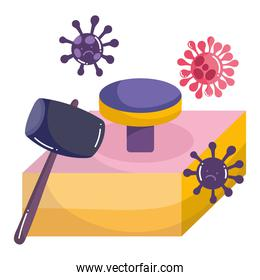 covid 19 virus cartoons hammer and button vector design