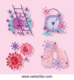 covid 19 virus in lungs ladder and clock vector design