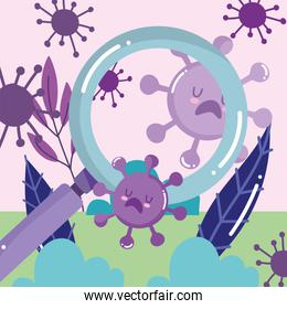 covid 19 virus cartoons and lupe vector design