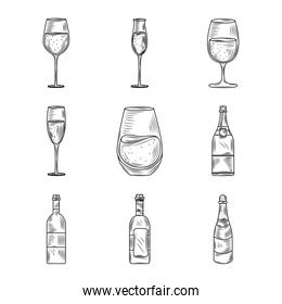 wine day, icon set wineglass cup bottle alcohol hand drawn design
