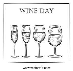 set of wine glass alcohol in hand drawn style