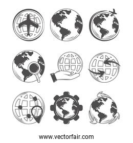 world globe map geography, travel, save the planet and more icons