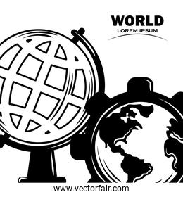 globe school and map in gear work world concept