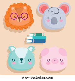 Back to school animals cartoons and books vector design