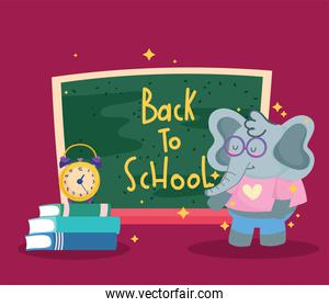 Back to school elephant cartoon and icons vector design