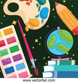 Back to school paint palette books world and pencil vector design