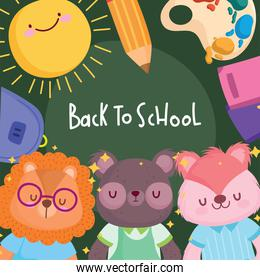 Back to school animals cartoons sun pencil and palette vector design